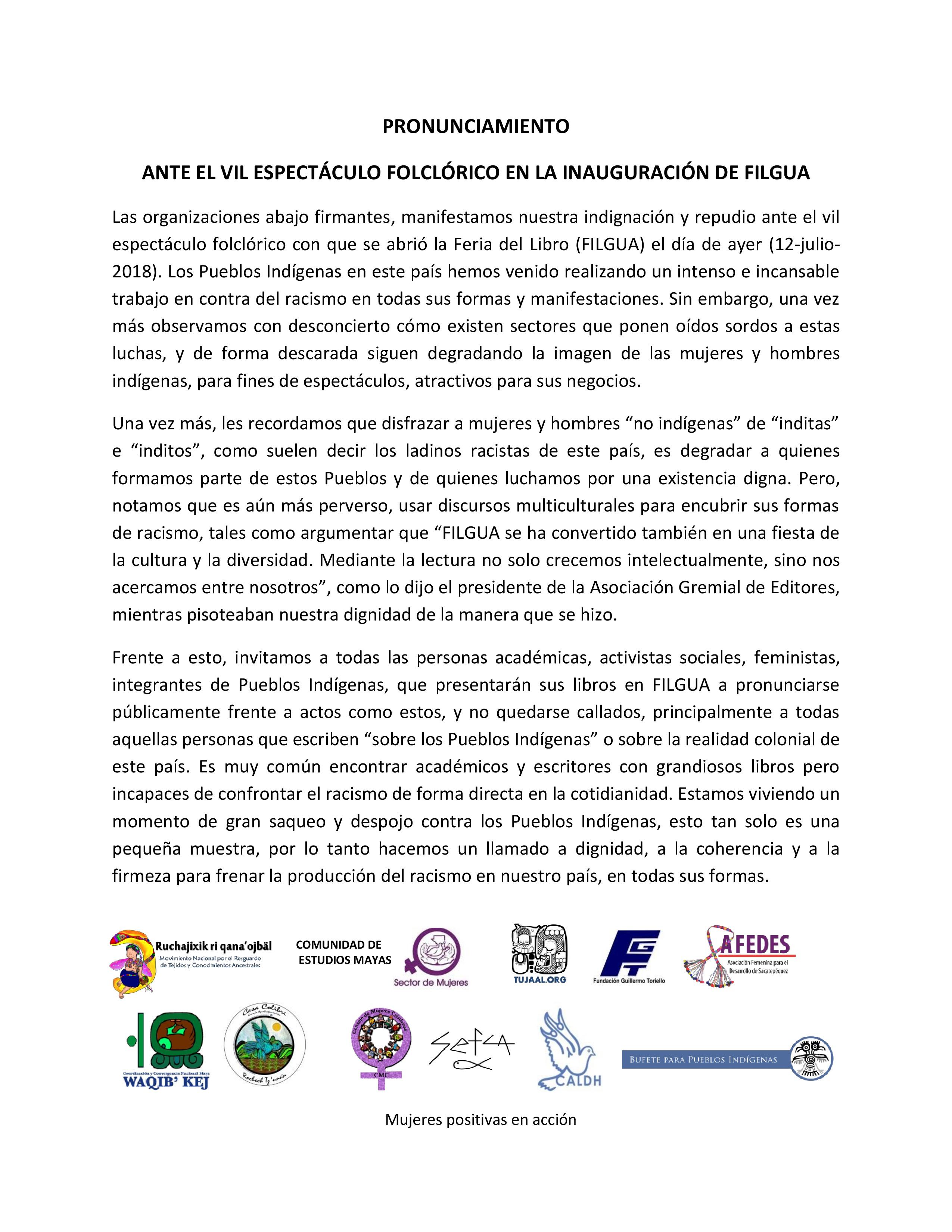 Pronunciamiento ante espectáculo RACISTA en FILGUA 2018