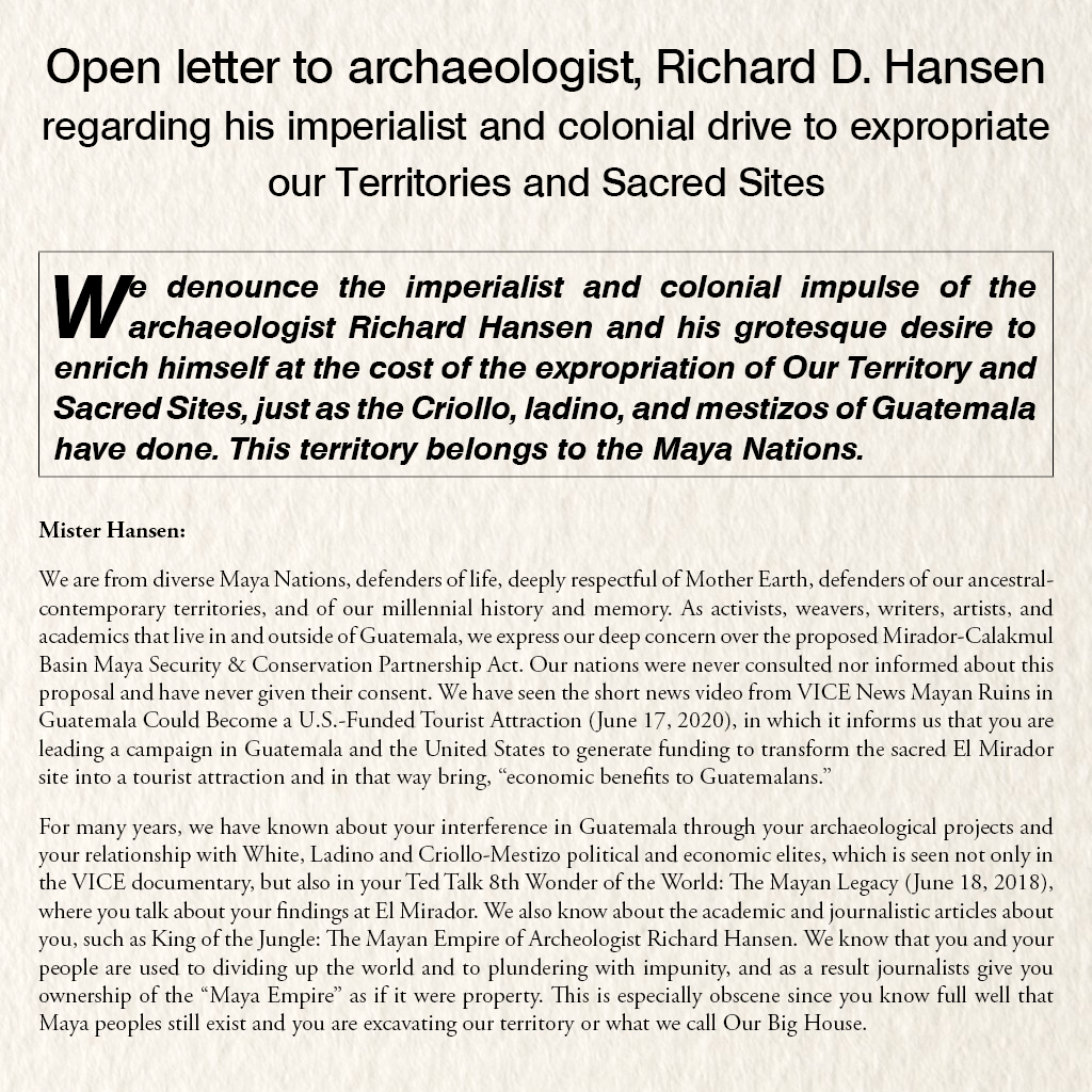 Open letter to archaeologist, Richard D. Hansen