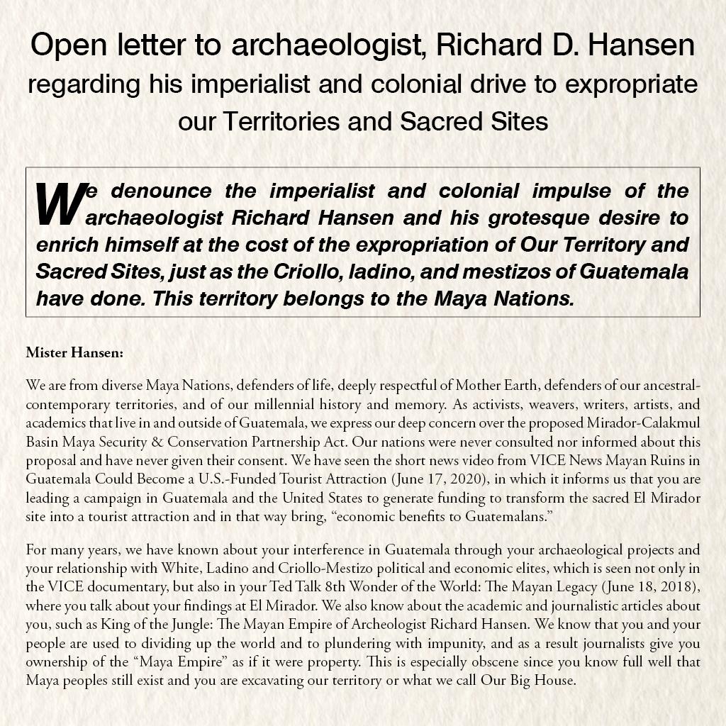 Open letter to archaeologist, Richard D. Hansen