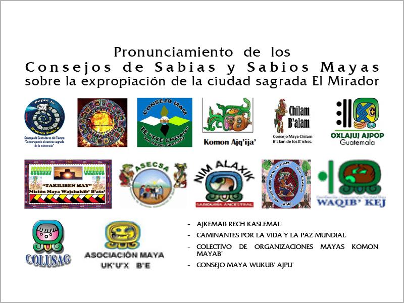 Portada de pronunciamiento de sabias y sabios Mayas