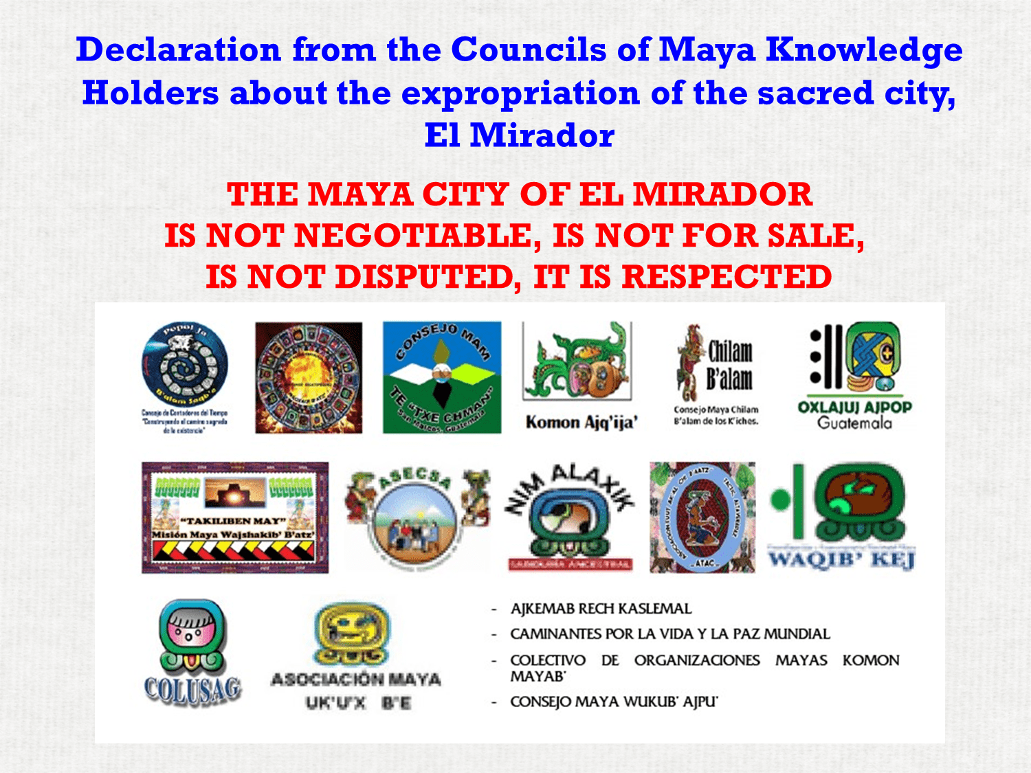 Councils of Maya Knowledge Holders